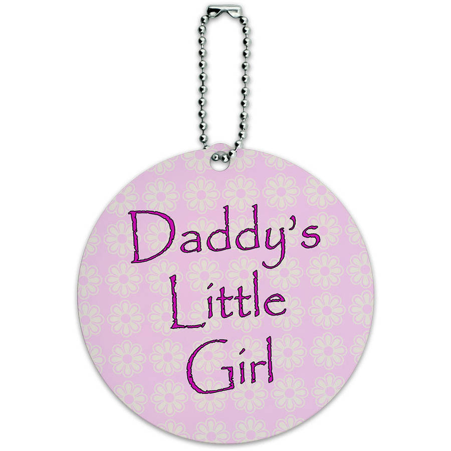 Daddy's Little Girl Pink with Flowers Round Luggage ID Tag Card for Suitcase or Carry-On