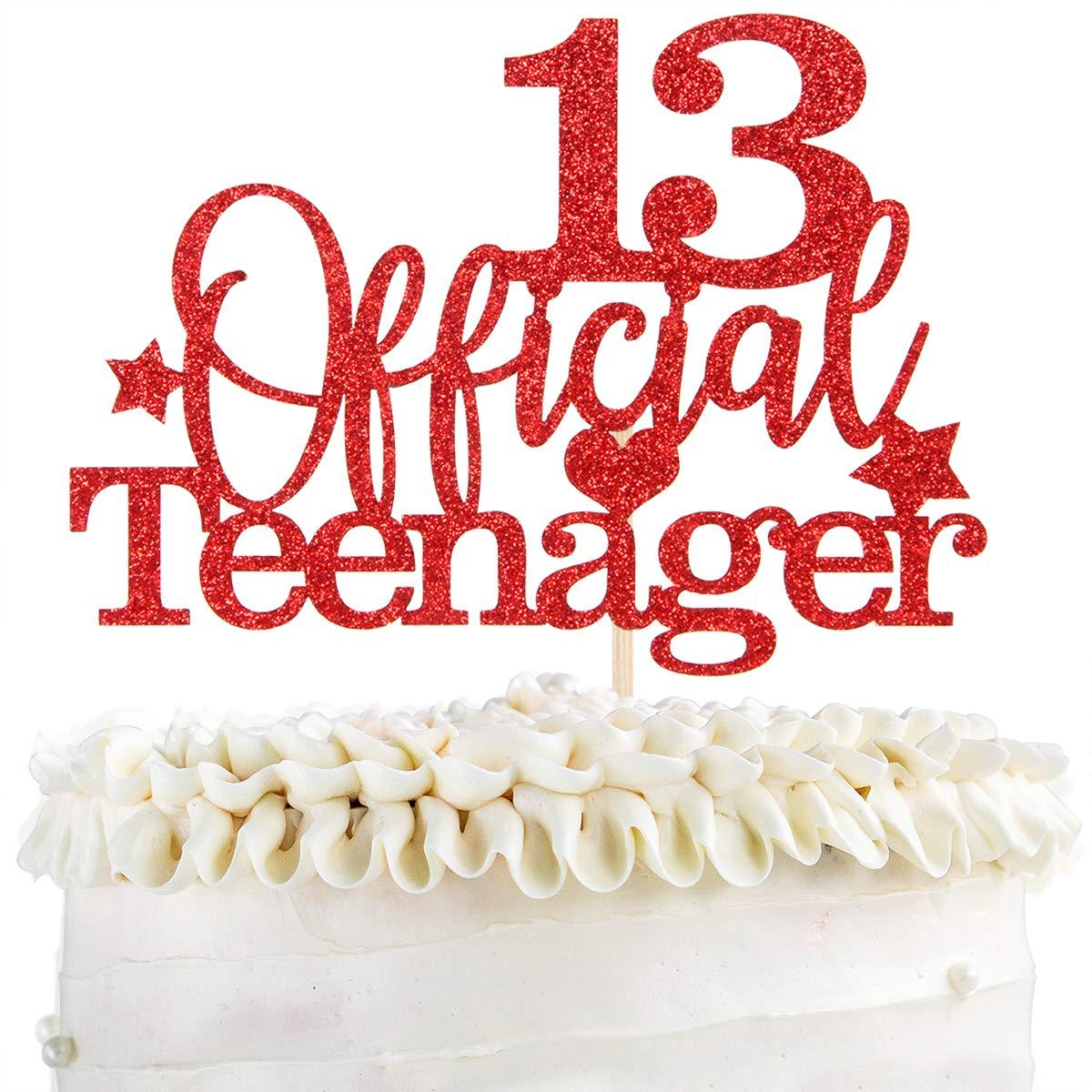 Official 13th Birthday Party Decoration Supplies WeBenison Red Glitter IM 13 Bitches Cake Topper for Cheers to 13 Years