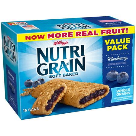 Kellogg's Nutri Grain Blueberry Soft Baked Breakfast Bars Value Pack, 1.3 oz, 16 count