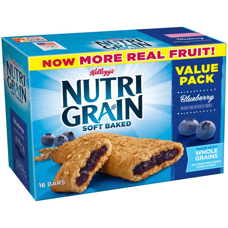 (3 Pack) Kellogg's Nutri Grain Blueberry Soft Baked Breakfast Bars Value Pack, 1.3 oz, 16 count