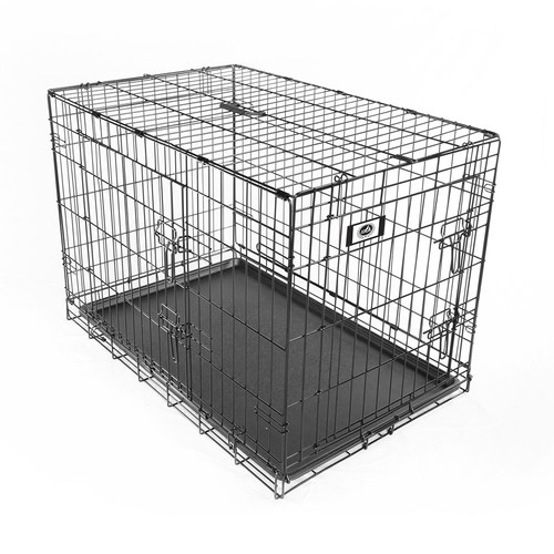 """Pet Champion Deluxe 36"""" Two-Door with Divider Wire Pet Crate Kennel, Large, Black"""