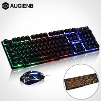 2.4GHZ Rainbow Gaming Keyboard and Mouse Set 104 Keys Ergonomic Optical USB Mouse + LED Multi-Colored Changing Backlight Keyboard For PC Gamer
