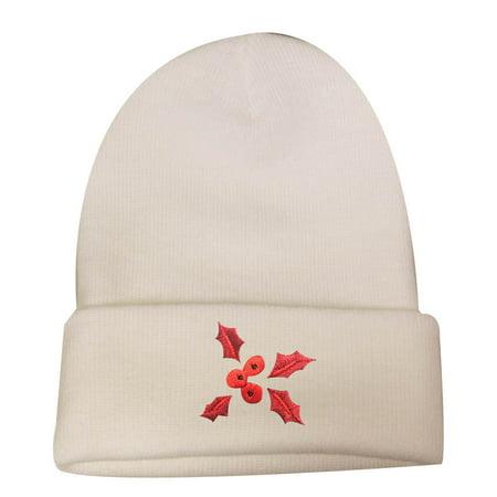 1093fc33a0490 City Hunter Sk901 X-mas Red Mistletoe Ski Beanie Hat - White - Walmart.com