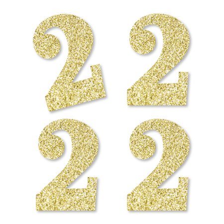 Gold Glitter 2 - No-Mess Real Gold Glitter Cut-Out Numbers - 2nd Birthday Party Confetti - Set of 25