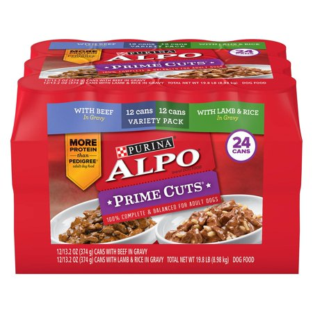 Purina Alpo Prime Cuts Beef in Gravy and Lamb and Rice in Gravy Wet Dog Food, Variety Pack  13.2 oz. cans, 24 (Best Dog Foods On The Market)