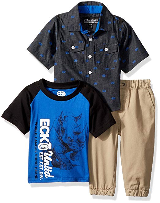 Short Sleeve Tee, Button Up and Pant 3 Piece Set (Little Boys & Big Boys)