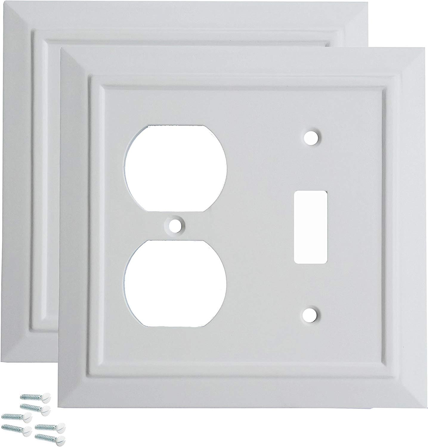 Pack Of 2 Wall Plate Outlet Switch Covers By Sleeklighting Classic Architecture Wall Plates Variety Of Styles Rocker Receptacle Toggle Combo Size 2 Gang Toggle And Receptacle Walmart Com Walmart Com