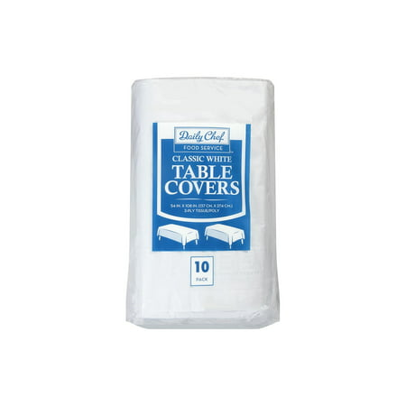Classic 3 Ply Tissue and Poly Tablecovers, White, 10