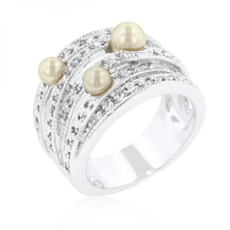 Champagne Pearl Cocktail Ring (size: 10)