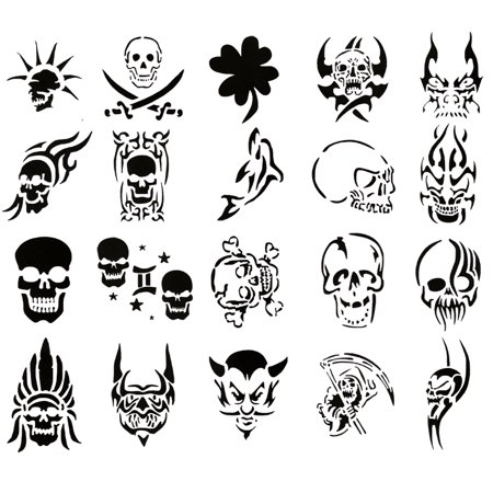 Self Adhesive Airbrush Body Tattoos Stencil Set Book of 20 Skull Designs