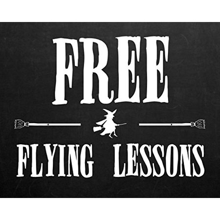 Free Flying Lessons Print Witch On A Broomstick Pickture Black And White Halloween Design Decoration Wall Hanging Seasonal Poster
