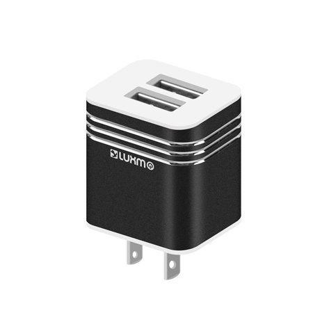 Insten Dual Port USB Wall Charger AC Plug for Samsung S9 S8 S7 S6 S5 J3 luna J7 sky pro Moto G4 G5 Plus Coolpad Catalyst ZTE Blade ZMax Max XL Maven 3 Majesty Huawei Ascend xt2 Sensa iPhone SE 8 Black