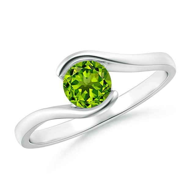 August Birthstone Ring - Semi Bezel-Set Solitaire Round Peridot Bypass Ring in Platinum (5mm Peridot) - SR0427P-PT-AAAA-5-7