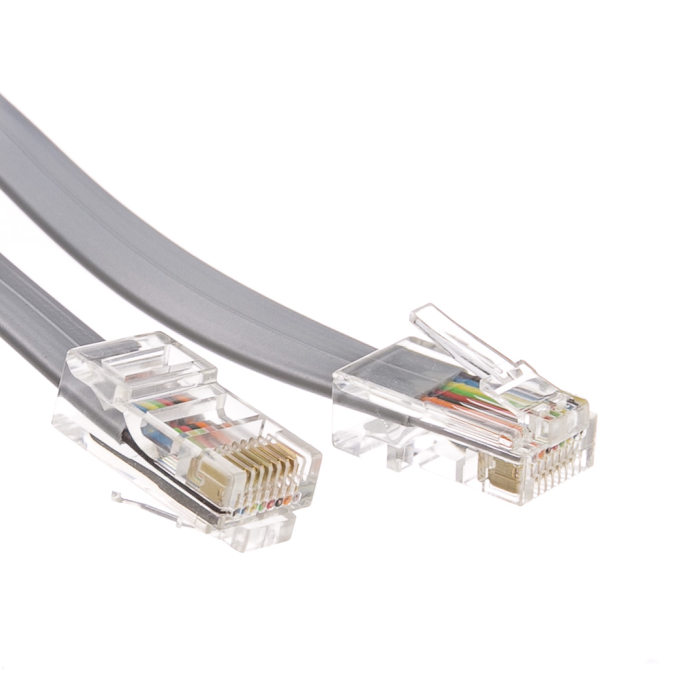 ACCL 25ft RJ45 (8P/8C) Male to Male Telephone Flat Cable (Data), Reverse, Silver Satin, 2pk