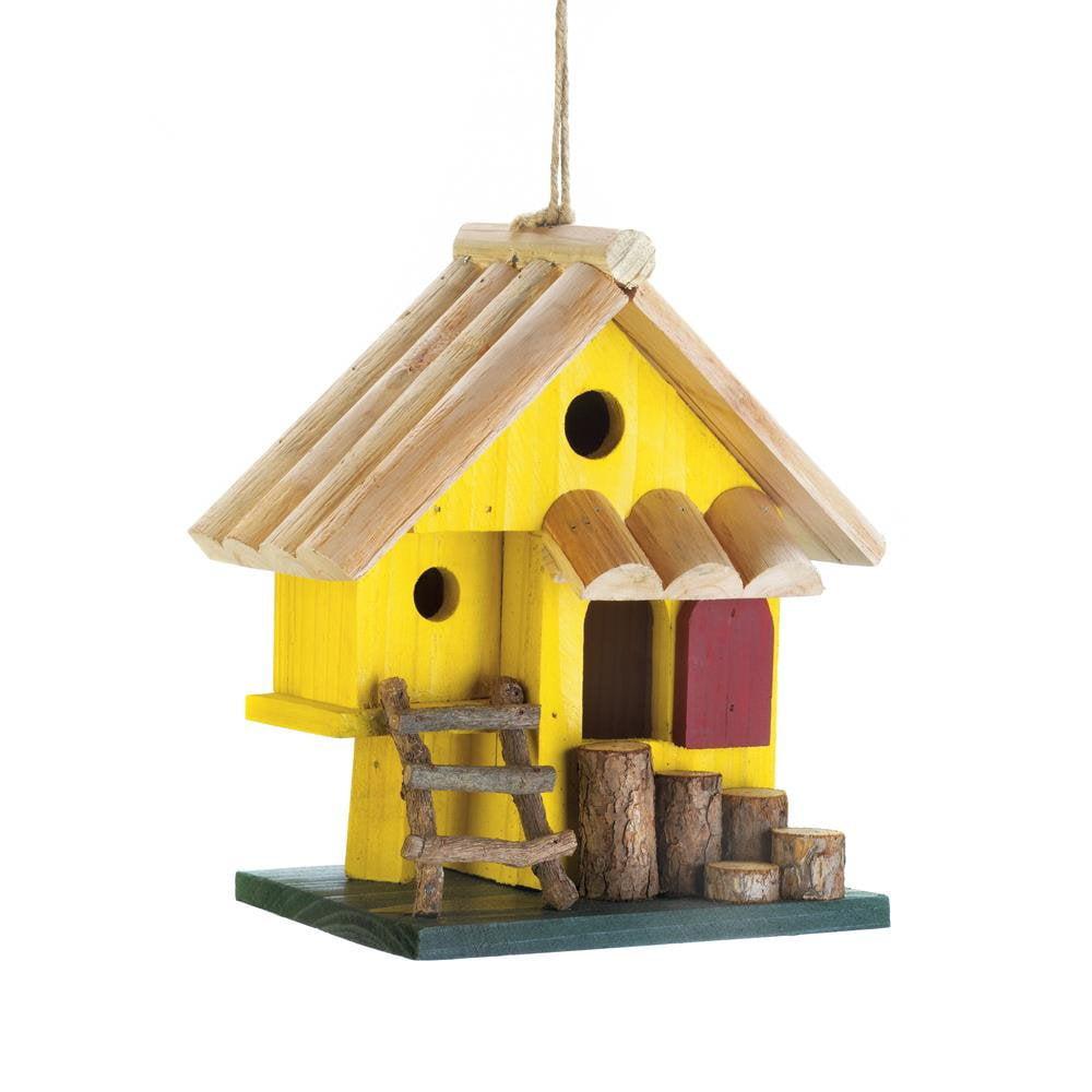 Hanging Bird House, Yellow Tree Fort Wooden Outdoor Rustic Decorative Bird House