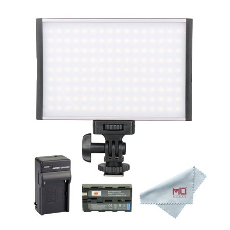 TOLIFO PT-15B LED Video Light Panel with F550 Battery Kit, Ultra-thin Dimmable Studio Photography Lighting for Canon Nikon Sony Camera Camcorder, Bi-Co 3200K-5600K Aluminum Alloy