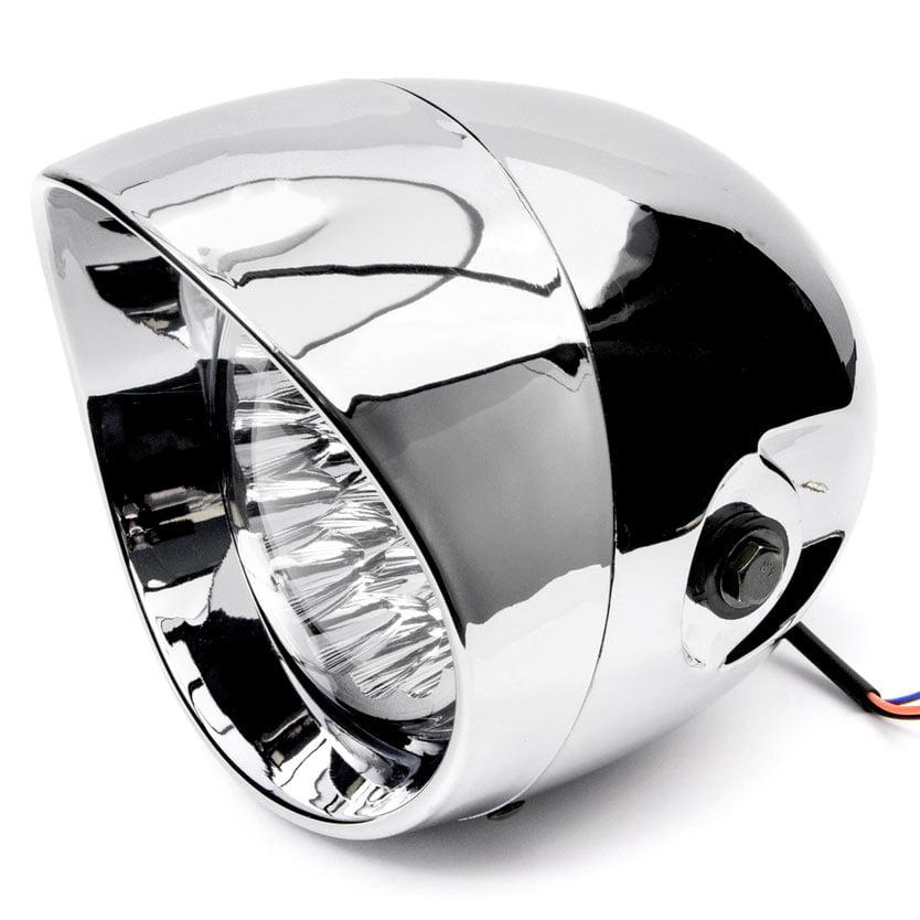 """Krator 7"""" Chrome LED Motorcycle Headlight w/ Side Mounting Running Light High / Lo Beam for Harley Davidson XL 883 Hugger Sportster - image 1 de 5"""