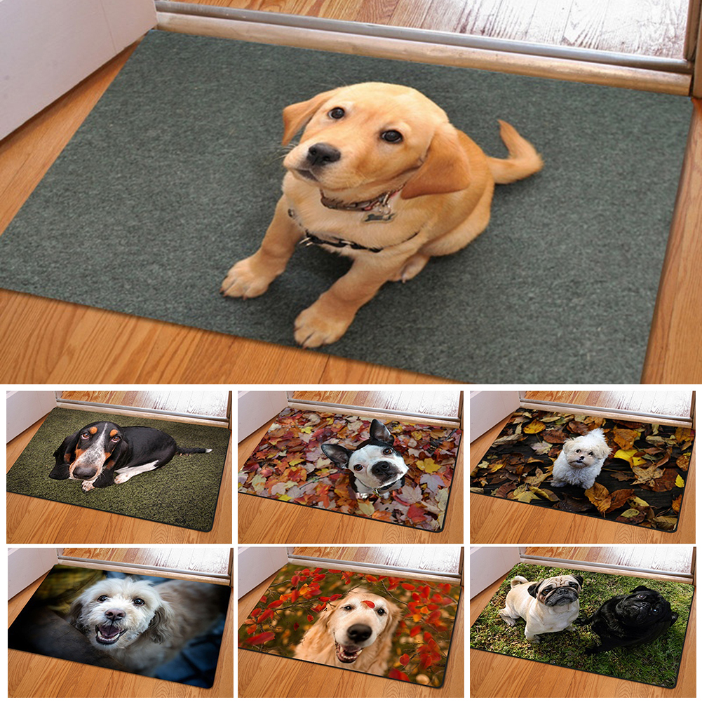 Essen Cute Pet Dog Print Rectangle Bedroom Kitchen Anti-Slip Doormat Modern  Home Decor