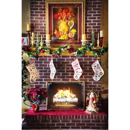 laminated poster fire in fireplace christmas fireplace fireplace poster print 24 x 36