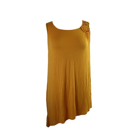 Grace Elements Yellow Sleeveless Crochet-Trim Asymmetrical-Hem Tunic XL ()