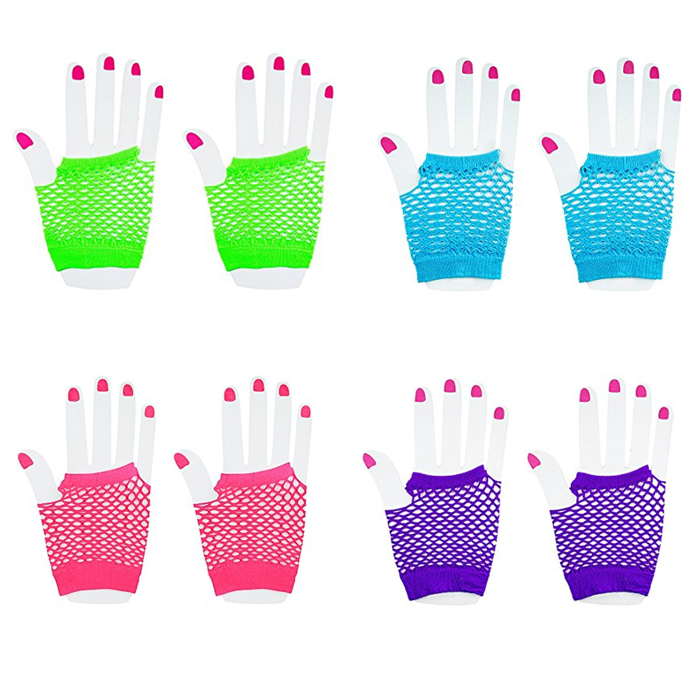 [Novelty Place] Fingerless Diva Fishnet Wrist Gloves Assorted Neon Colors (24 Pairs)