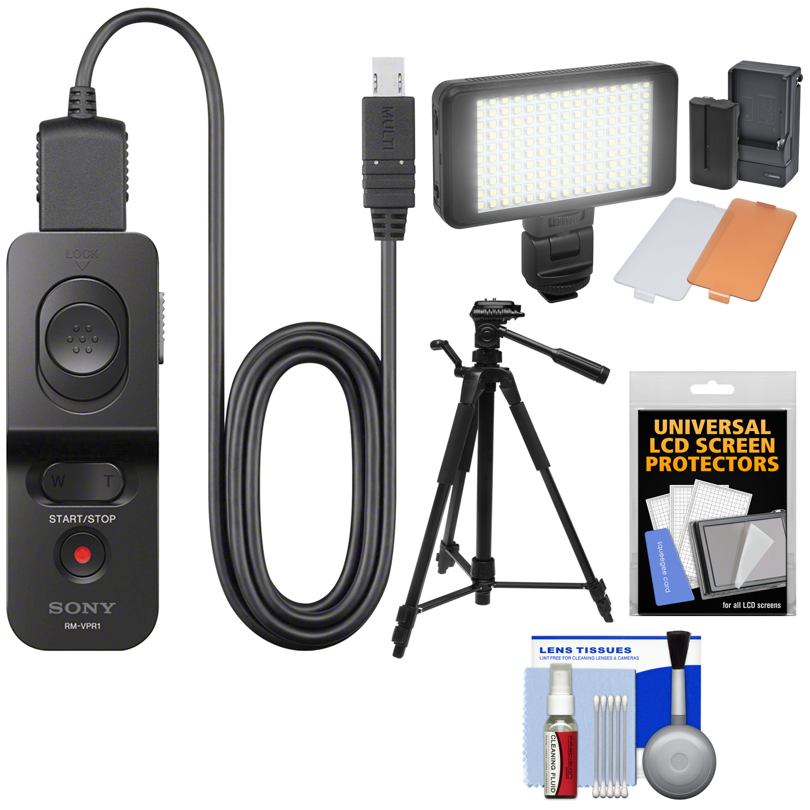 Sony RM-VPR1 Remote Control with Multi-terminal Cable with LED Video Light   Tripod   Kit