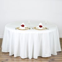 "108"" Round Polyester Tablecloth for Kitchen, Dining, Catering, Wedding, Birthday, Party Decorations, Events by Efavormart"