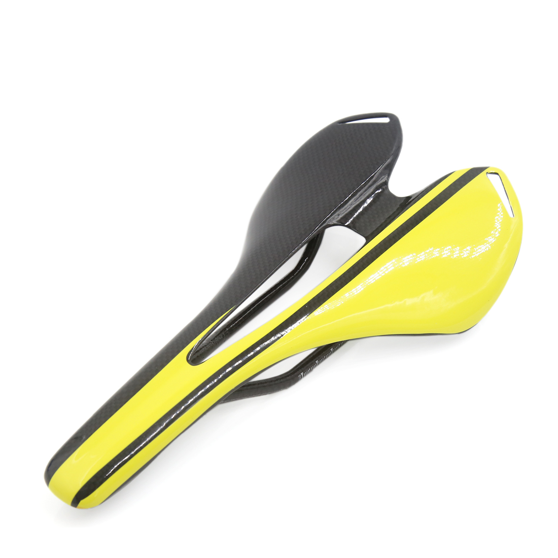 Carbon Fiber Pattern Road Bike Cycling Cushion Yellow Middle Hollow Saddle
