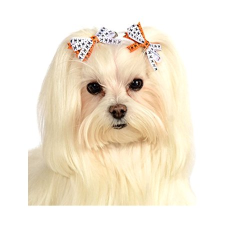 Halloween White Orange Skeleton Crossbones Hair Bows Pet Dog Costume Accessory (Painted Dog Faces Halloween)