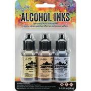 Tim Holtz Alcohol Ink .5oz 3/Pkg-Wildflowers-Lemonade/Peach Bellini/Peri