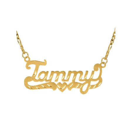 Personalized Sterling Silver, Gold Plated, 10k or 14k Diamond Cut Nameplate Necklace with an 18 inch Silver Plated Figaro - Personalized Girls Necklace