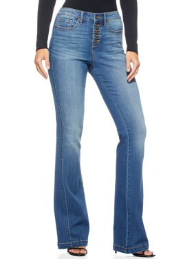 Sofia Jeans by Sofia Vergara Women's Melisa Flare High Rise Button Front Side Panel Jeans