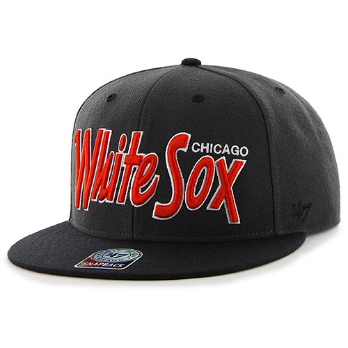 Chicago White Sox '47 Neon Retroscript Snapback Adjustable Hat - Black - OSFA