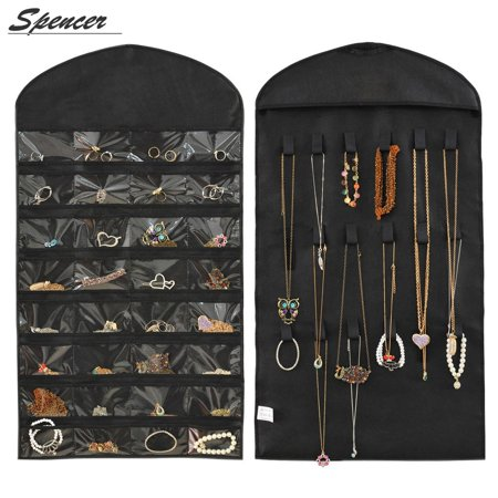 Spencer Hanging Jewelry Organizer Double Sides 32 Pockets & 18 Magic Tape Hook Accessories Storage for Earrings Necklace Bracelet Ring Display Pouch Holder