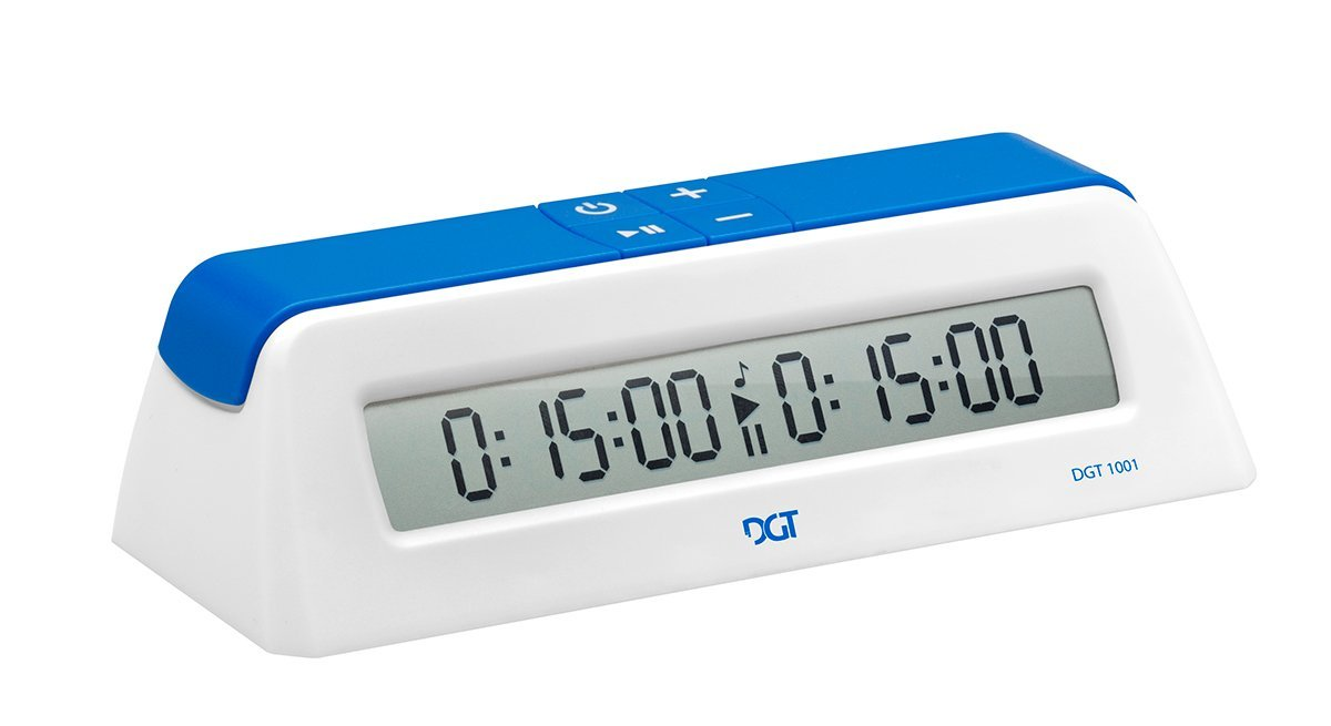 DGT 1001 Blue White Chess Game Clock & Timer with Play Chess Instructions by