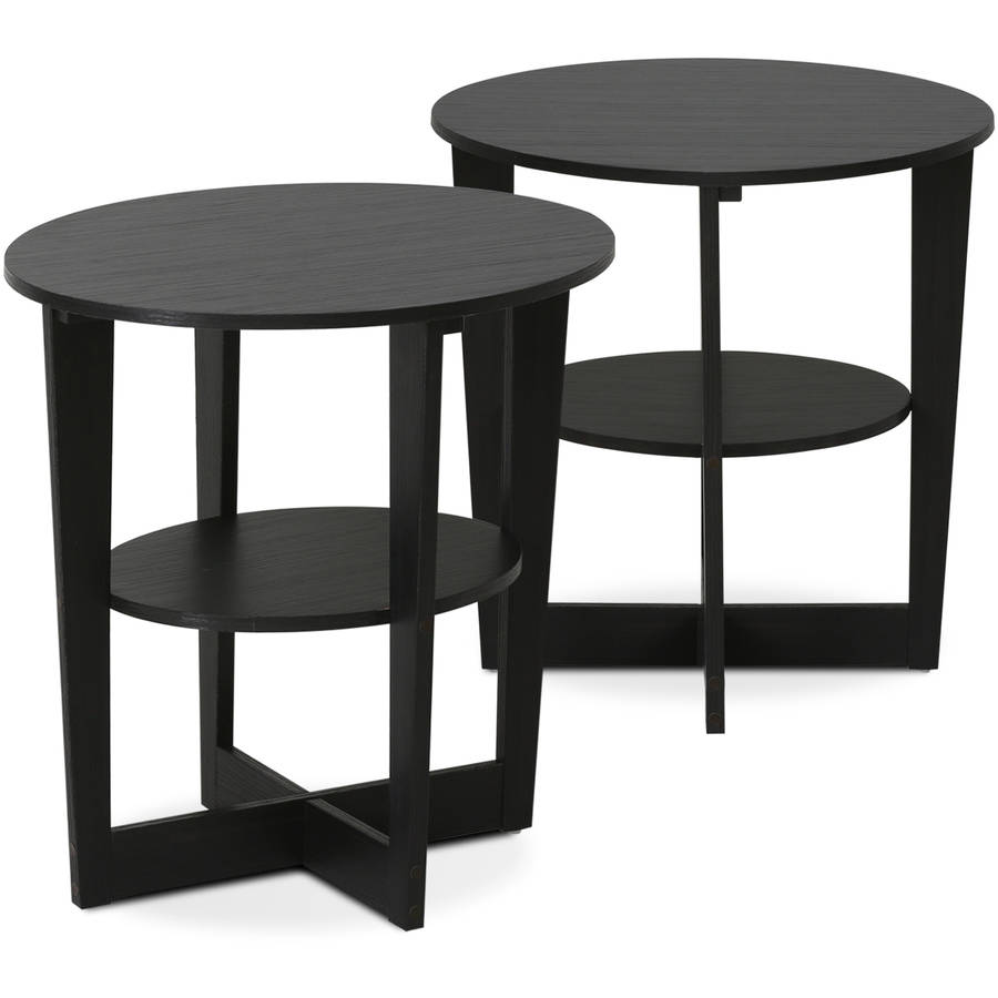 Furinno 2 15019WN Oval End Table, Set Of 2, Walnut