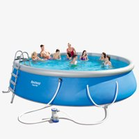 "Bestway Fast Set 18' x 48"" Swimming Pool Set with Pump, Ladder and Cover"