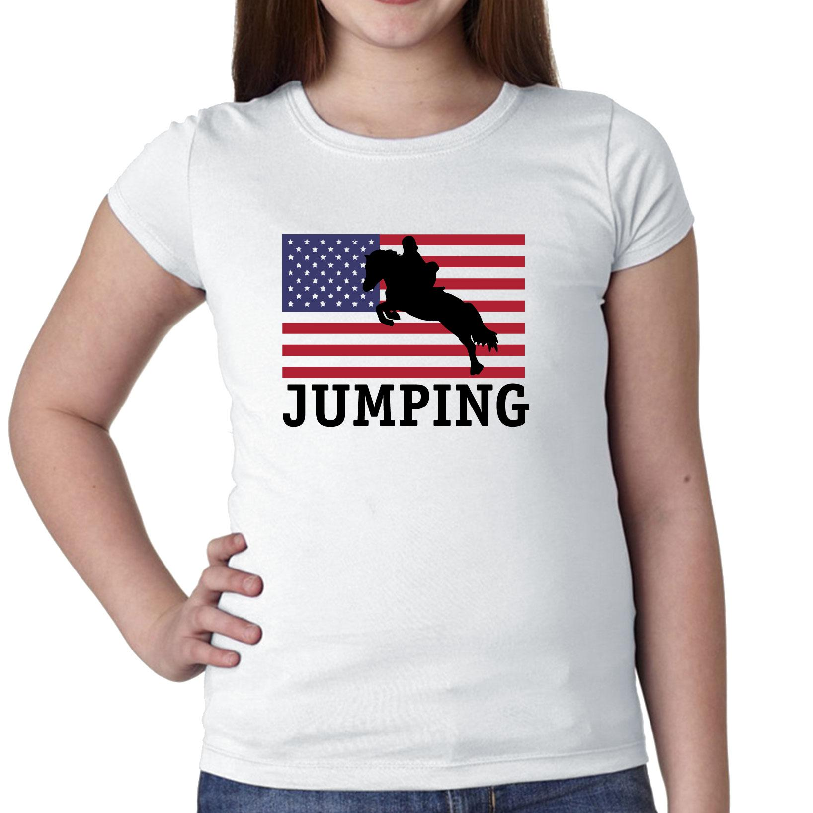 USA Olympic - Jumping - Flag - Silhouette Girl's Cotton Youth T-Shirt