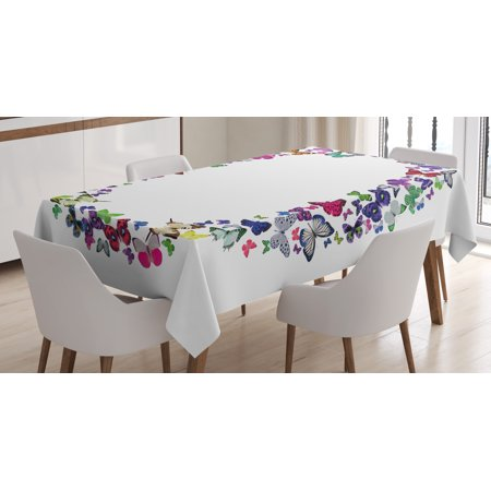 Letter O Tablecloth, ABC of Summer Nature Typography with Various Flying Butterflies Vibrant Creatures, Rectangular Table Cover for Dining Room Kitchen, 52 X 70 Inches, Multicolor, by Ambesonne](Butterfly Tablecloth)