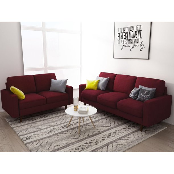 US Pride Furniture Elroy Matte Velvet Fabric 2 Piece Living Room Set, Burgundy