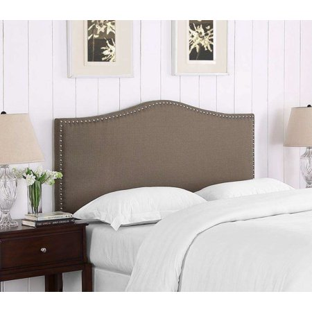 DHI Paige Full/Queen Headboard With Nailhead Trim, Pebble Stone ()