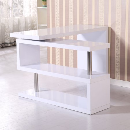GHP Glossy White Wooden 360° Rotating Shelf Computer PC Workstation Writing Table Desk ()