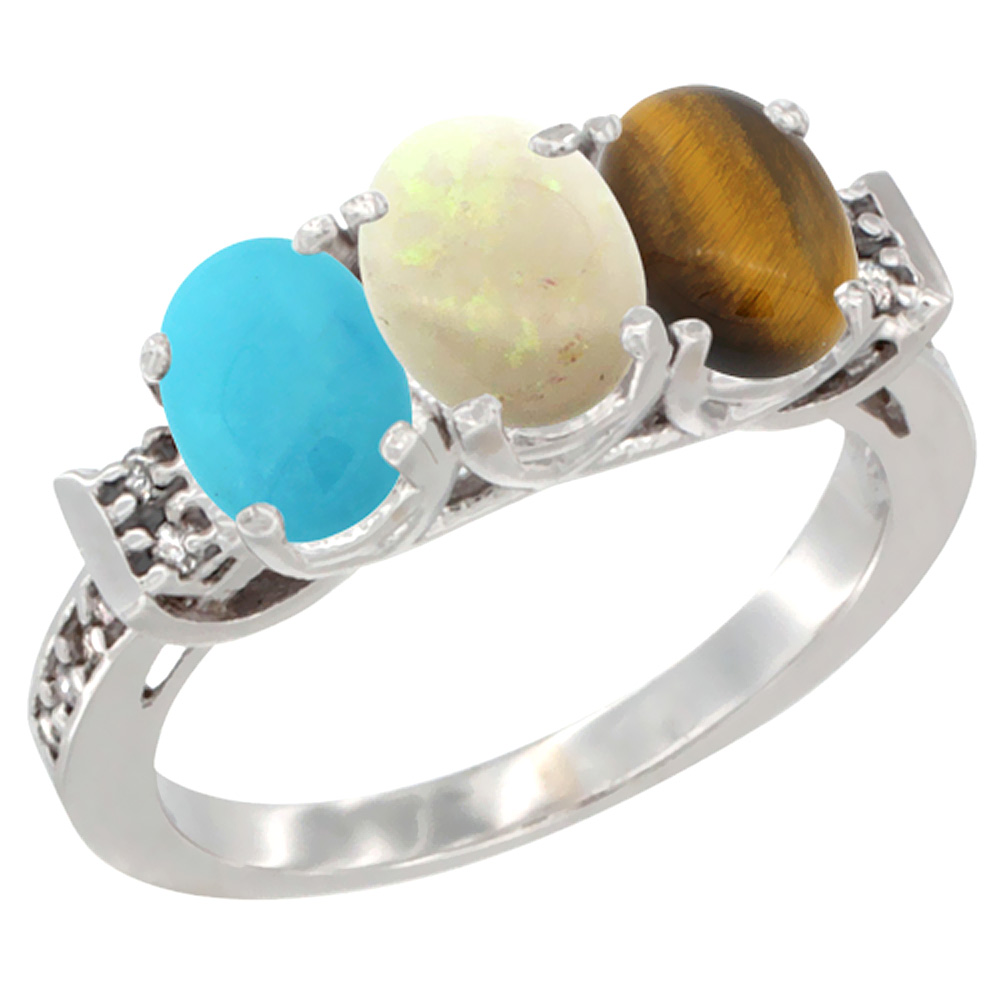 10K White Gold Natural Turquoise, Opal & Tiger Eye Ring 3-Stone Oval 7x5 mm Diamond Accent, sizes 5 10 by Tourmaline Rings