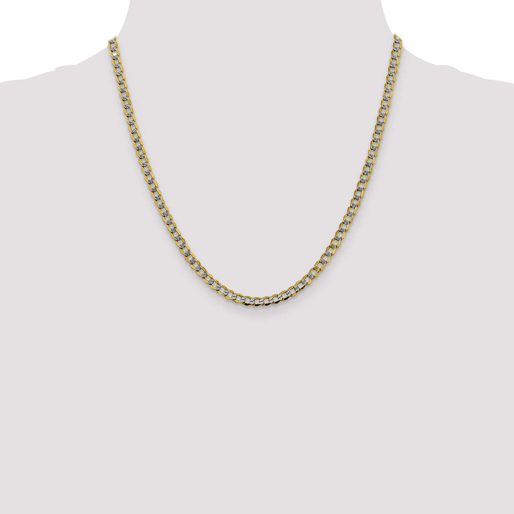 14k Yellow Gold 4.3mm Link Curb Chain Necklace 20 Inch Pendant Charm Pav? Fine Jewelry Gifts For Women For Her - image 4 of 5