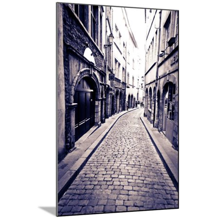 Cobblestone Street in Old Town Vieux Lyon, France Wood Mounted Print Wall Art By Russ