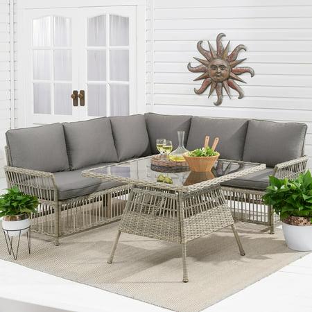 Better Homes & Gardens Belfair 3-Piece Outdoor Wicker Sectional Set with Gray (Wicker Sectional Set)