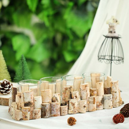 BalsaCircle Natural 14x5-Inch Wood Candle Holder Stand with 4 Clear Glass Candle Holders - Wedding Party Centerpieces Decorations ()