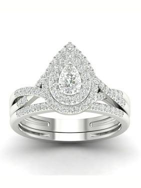 IGI Certified 1/2Ct TDW Diamond 10k White Gold Pear Shape Halo Bridal Set (H-I, I2)