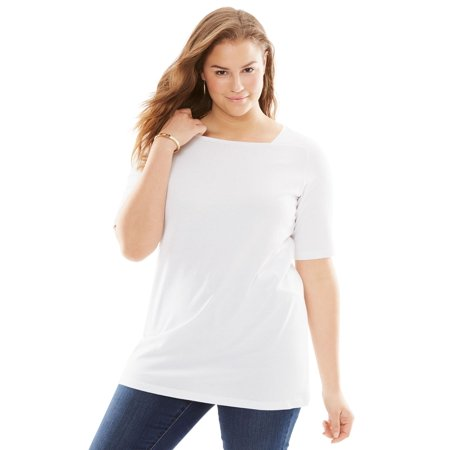 Woman Within Plus Size Perfect Square Neck Tee