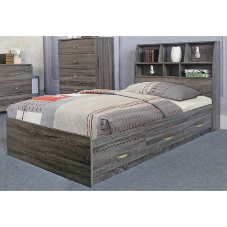Contemporary Style Grey Finish Twin Size Chest Bed With 3 Drawers on Metal Glides.